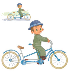 Small boy ride retro bike vector
