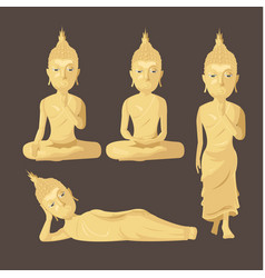 Statue buddha figure collection set vector