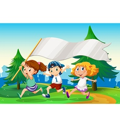 Three kids running with an empty flag banner vector image vector image