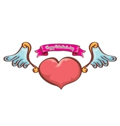 valentines day pink heart with angel wings vector image