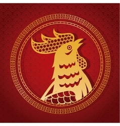 Year rooster chinese calendar gold rooster and vector