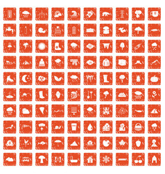 100 clouds icons set grunge orange vector