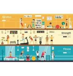 Aerobics strength fitness flat interior outdoor vector