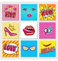 Fashion pop art cards vector