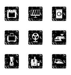 Home appliances icons set grunge style vector