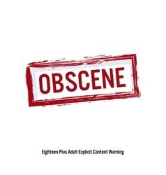 Obscene red stop sign age restriction stamp vector