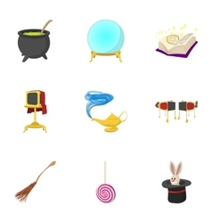 Tricks icons set cartoon style vector