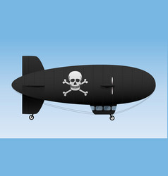 Black airship pirate air transport vector