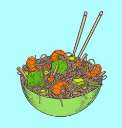 asian fastfood with noodles shrimps pepper vector image