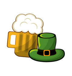 beer glass with foth and st patrick hat vector image