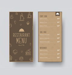 Design of a narrow menu for a restaurant or a vector