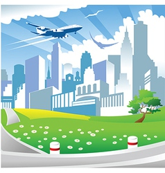 City landscape with park vector image