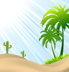 Desert scene with palm treecactus sand dunes vector