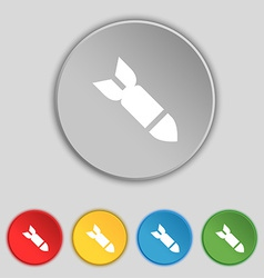Missilerocket weapon icon sign symbol on five flat vector