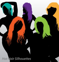 Funky hair silhouettes vector