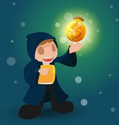 Wizard magic money rich dollar vector