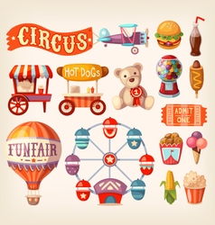 Fun fair icons vector