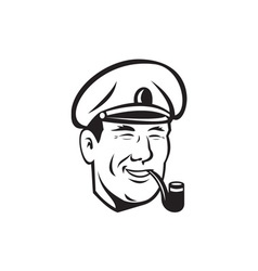 Sea captain smiling smoke pipe retro vector
