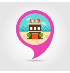 Hotel pin map icon summer vacation vector
