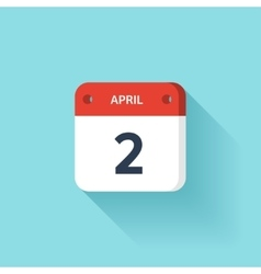 April 2 Isometric Calendar Icon With Shadow vector image vector image