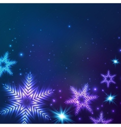 Blue cosmic snowflakes Christmas abstract vector image vector image