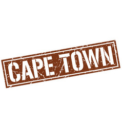 Cape town brown square stamp vector