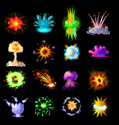 Cartoon colorful explosions collection vector