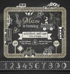 Chalk birthday invitation template vector