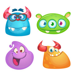 cute cartoon monsters collection vector image vector image
