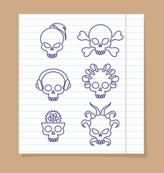 cute line skulls on notebook page vector image vector image