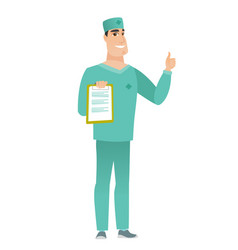 Doctor with clipboard giving thumb up vector
