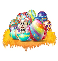 Easter eggs with an Easter bunny vector image vector image