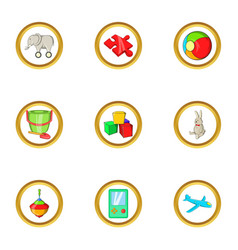 Education toy icon set cartoon style vector