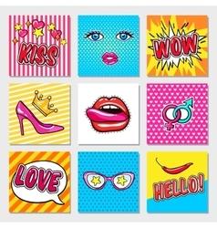 Fashion Pop Art Cards vector image vector image