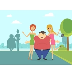 Fat man with his thin girlfriends in the park vector