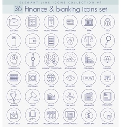 Finance outline icon set elegant thin line vector
