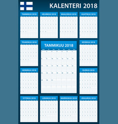 Finnish planner blank for 2018 scheduler agenda vector
