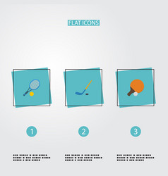 flat icons table tennis puck rocket and other vector image