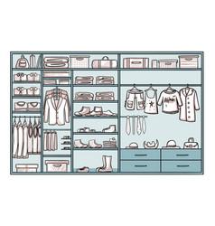 hand drawn male wardrobe concept vector image vector image