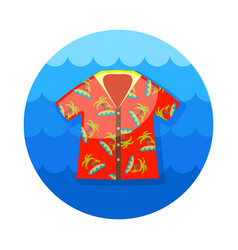 Hawaiian shirt palm tree icon summer vacation vector
