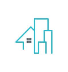 house building line company logo vector image vector image
