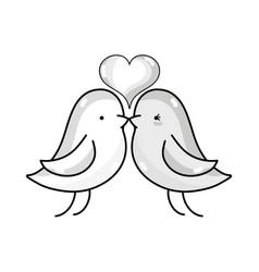 Line bird dove lover with heart design vector