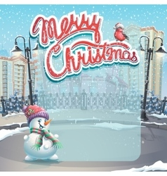 Merry Christmas with a snowman vector image vector image