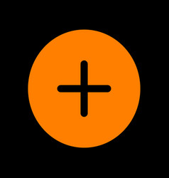 Positive symbol plus sign orange icon on black vector