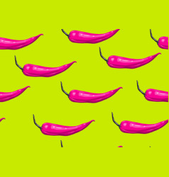 seamless pattern with pink chilli decorative vector image