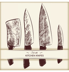 Set with kitchen knifes vector image vector image