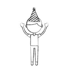 sketch draw party boy cartoon vector image