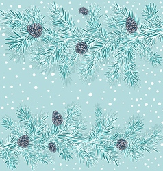 stylized branches of spruce with cones vector image vector image
