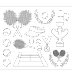 Tennis set icons vector image