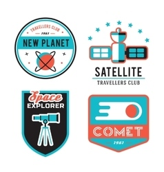 Vintage space and astronaut badges or labels set vector